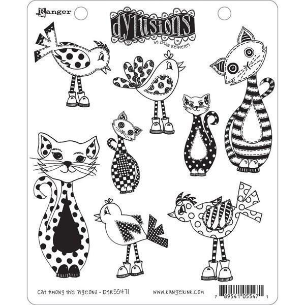 Cling Rubber Stamp Set - Dylusions / Cat Among Pigeons