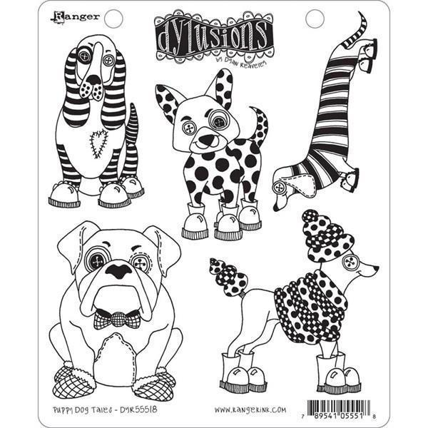 Cling Rubber Stamp Set - Dylusions / Puppy Dog Tales