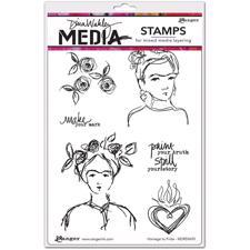 Dina Wakley Cling Rubber Stamp Set - Homage to Frida