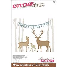 Cottage Cutz  Die -  Merry Christmas w. Deer Family
