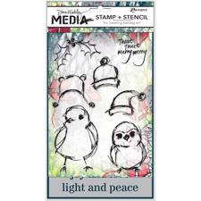 Dina Wakley Clear Stamp & Stencil Set - Scribbly Birds Christmas