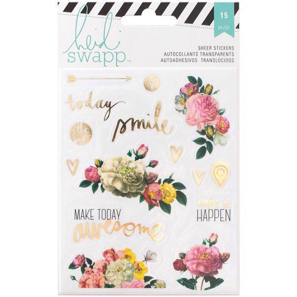 Heidi Swapp Memory Planner - Clear Floral Stickers