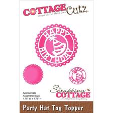 Cottage Cutz  Die - Happy Birthday Circle Tag Topper (Party Hat)