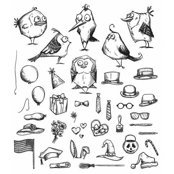 Tim Holtz Cling Rubber Stamp Set - MINI Bird Crazy & Things