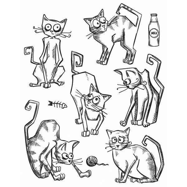 Tim Holtz Cling Rubber Stamp Set - Crazy CATS