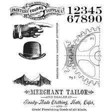 Tim Holtz Cling Rubber Stamp Set - Dapper