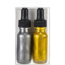 Hero Arts Glimmer Metallic Ink - Gold & Pewter