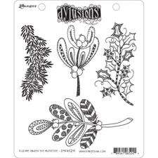 Cling Rubber Stamp Set - Dylusions / Kiss me under the Mistletoe