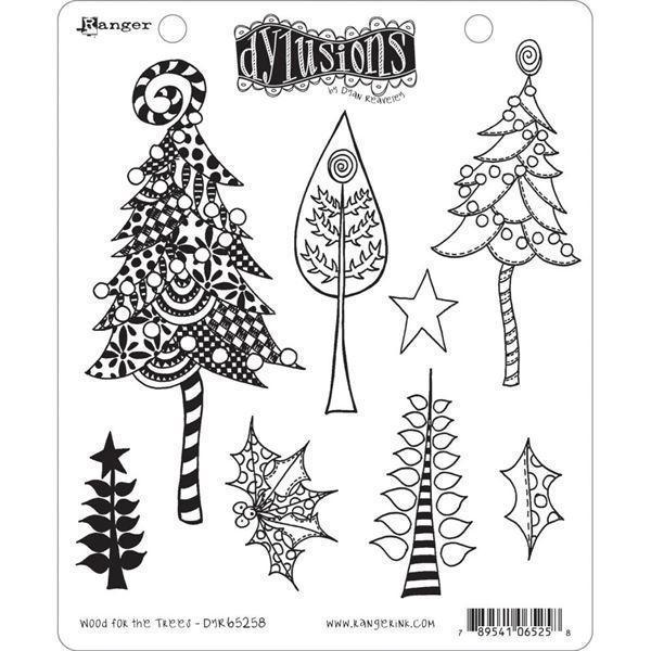 Cling Rubber Stamp Set - Dylusions / Wood for the Trees