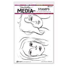 Dina Wakley Cling Rubber Stamp Set - Lovely Women