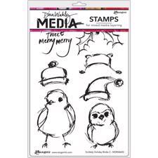Dina Wakley Cling Rubber Stamp Set - Holiday Birdie 2
