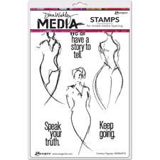 Dina Wakley Cling Rubber Stamp Set - Contour Figures