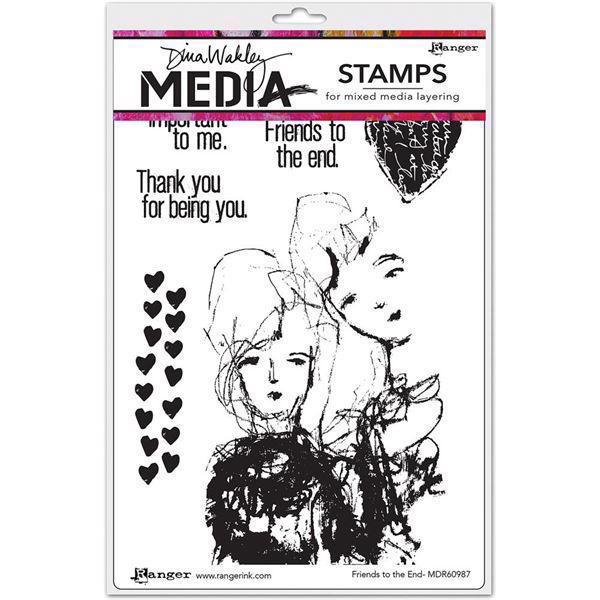 Dina Wakley Cling Rubber Stamp Set - Friends To The End