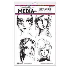 Dina Wakley Cling Rubber Stamp Set - Interesting Faces