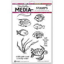 Dina Wakley Cling Rubber Stamp Set - Scribbly Fishes