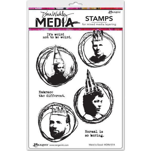 Dina Wakley Cling Rubber Stamp Set - Weird Is Good