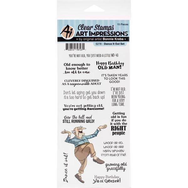 Art Impressions Clear Stamp Set - Laugh Lines / Dance Out