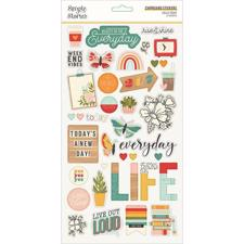 Simple Stories Die Cuts - Chipboard Stickers / Hello Today