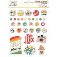Simple Stories Die Cuts - Brads / Hello Today
