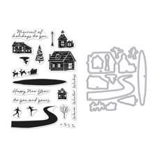 Hero Arts Clear Stamp & DIE Set - Snowy Town