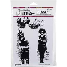 Dina Wakley Cling Rubber Stamp Set - Collaged Girls