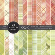 "Memory Box Paper Pad 6x6"" - Madras Plaid Coral & Green"