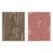 Sizzix Texture Embossing Folders - Tim Holtz / Bricked & Woodgrain