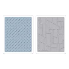 Sizzix Texture Embossing Folders - Tim Holtz / Diamond Plate & Riveted Metal