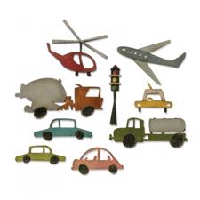 Sizzix Thinlits - Tim Holtz / Cityscape Commute (bil, helikopter, fly)