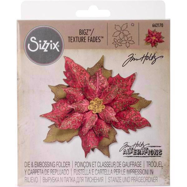 Sizzix Bigz Die & Embossing Folder - Tim Holtz / Layered Tattered Poinsettia (SÆT)