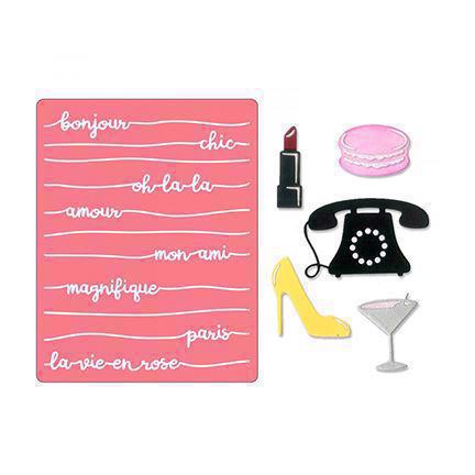 Sizzix Thinlits & Embossing Folder - Bonjour Chic