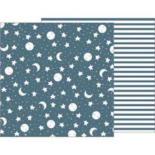Pebbles Scrapbook Paper - Night Night Baby Boy / Sweet Dreams