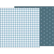 Pebbles Scrapbook Paper - Night Night Baby Boy / Blue Blankie