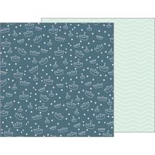 Pebbles Scrapbook Paper - Night Night Baby Boy / Sail Away