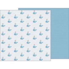 Pebbles Scrapbook Paper - Night Night Baby Boy / Seaside