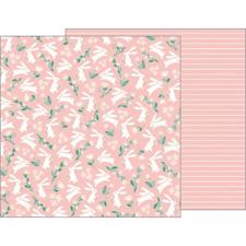 Pebbles Scrapbook Paper - Night Night Baby Girl / Bunny Love