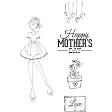 Prima Mixed Media Doll Stamp Cling Stamp SET - Mamas Day