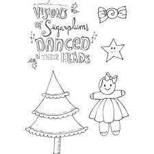Prima Mixed Media Doll Stamp Cling Stamp SET - Sugar Plums