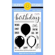 Sunny Studio Stamps - Clear Stamp / Birthday Balloon