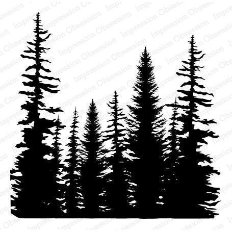 Cover a Card Cling Stamp  - Pine Trees