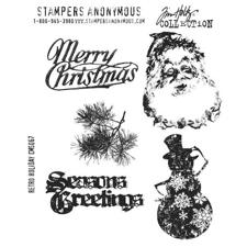 Tim Holtz Cling Rubber Stamp Set - Retro Holiday (snowman etc.)