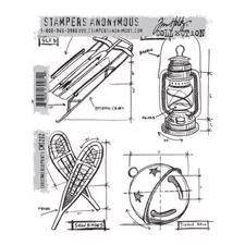 Tim Holtz Cling Rubber Stamp Set - Blueprints / Christmas #5 (kælk m.fl.)