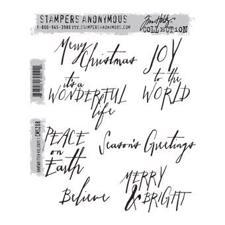 Tim Holtz Cling Rubber Stamp Set - Handwritten Holidays #1 (merry christmas)