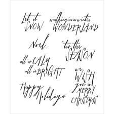 Tim Holtz Cling Rubber Stamp Set - Handwritten Holidays #2 (let it snow)