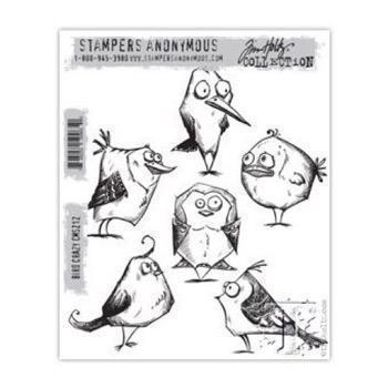 Tim Holtz Cling Rubber Stamp Set -  Bird Crazy