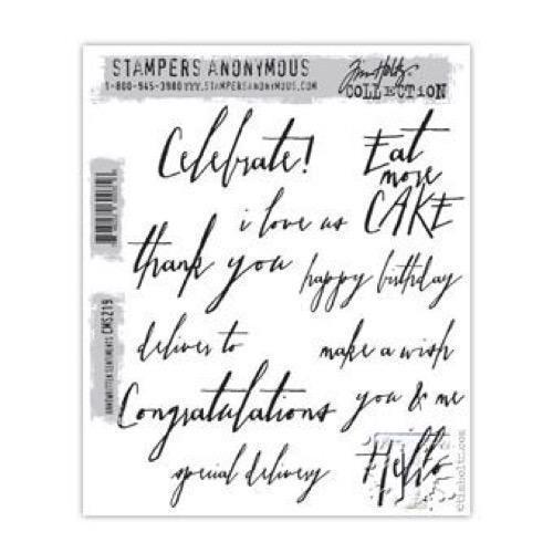 Tim Holtz Cling Rubber Stamp Set - Handwritten Sentiments