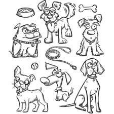 Tim Holtz Cling Rubber Stamp Set - Crazy DOGS