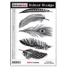Darkroom Door Stamp - Rubber Stamp Set / Feathers