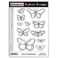 Darkroom Door Stamp - Rubber Stamp Set / Fine Butterflies