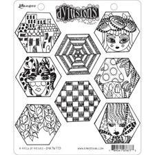 Cling Rubber Stamp Set - Dylusions / A Heck of Hexies